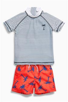 Stripe And Palm Tree Two Piece Swim Set (3mths-6yrs)