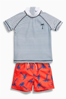 Stripe And Palm Tree Two Piece Swim Set (3mths-6yrs)