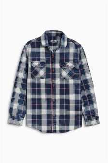 Indigo Washed Check Shirt (3-16yrs)