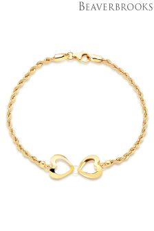 Beaverbrooks 9ct Gold Heart Bracelet