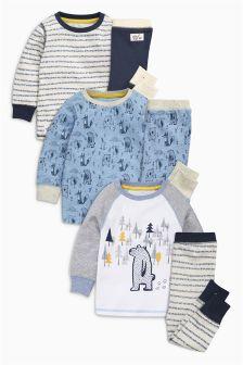 Bear Pyjamas Three Pack (9mths-8yrs)