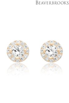 Beaverbrooks 9ct Gold Cubic Zirconia Halo Stud Earrings