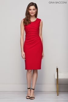 Gina Bacconi Red Leona Scuba Crepe Dress