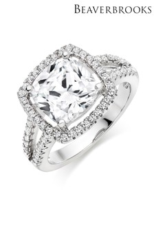 Beaverbrooks Silver Cubic Zirconia Cluster Ring