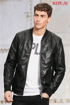 Replay® Black Leather Bomber Jacket