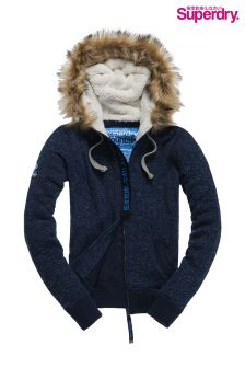 Superdry Rugged Navy Storm Fur Zip Hood