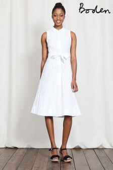 Boden White Broderie Clemmie Shirt Dress