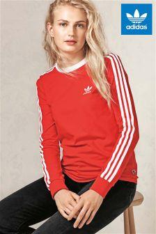 adidas Originals Red 3 Stripe Long Sleeve Top