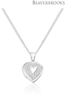 Beaverbrooks Silver Cubic Zirconia Heart Locket Pendant
