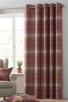 Thermal Red Woven Check Stirling Eyelet Curtains
