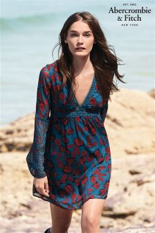 Abercrombie & Fitch Navy Floral Long Sleeve Dress
