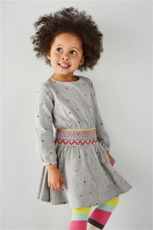 Spot Shirred Waist Dress (3mths-6yrs)