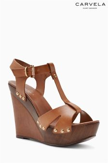 Carvela Tan Katey T-Bar Platform Wedge