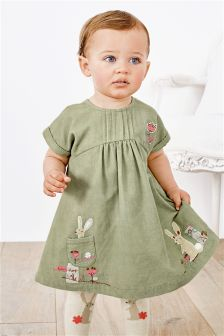 Embroidered Cord Dress And Tights (0mths-2yrs)