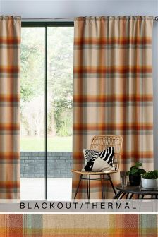Ashworth Woven Check Multi Header Blackout Curtains