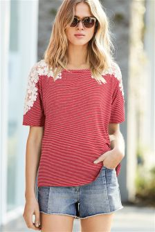 Floral Lace Stripe T-Shirt