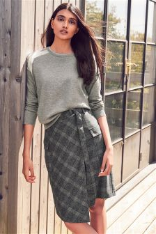 Check Wrap Midi Skirt