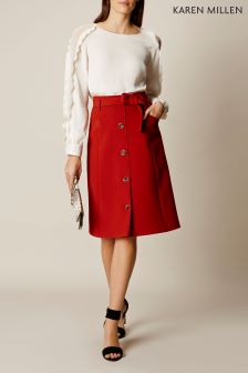 Karen Millen Red Button Down Midi Skirt