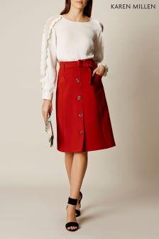 Karen Millen Rust Button Down Midi Skirt