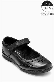 Black Cut Out Flower Shoes (Older Girls)
