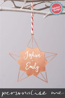 Personalised Couples Star Christmas Tree Decoration By Oakdene