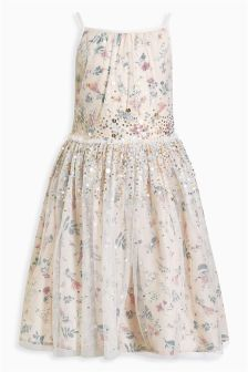 Ecru Printed Graduated Sequin Dress (3-14yrs)