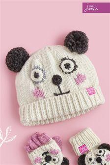 Joules White Panda Hat