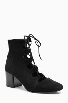Suede Lace Up Block Heel Shoe Boots