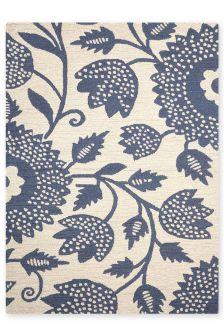 Blue Scandi Floral Rug