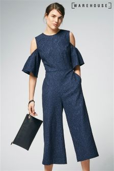Warehouse Navy Bonded Lace Jumpsuit