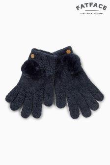 Fat Face Navy Chenille Pom Pom Gloves