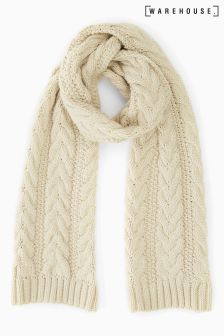 Warehouse Cream Cable Knit Scarf