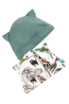 Jungle Print Beanie Hats Two Pack (0-18mths)