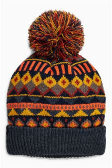 Fairisle Pattern Pom Pom Beanie (Older Boys)
