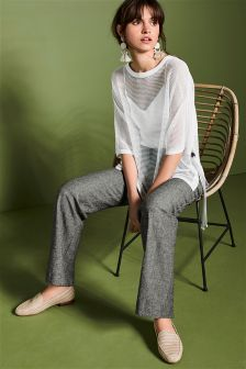 Linen Blend Slouch Trousers