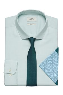 Oxford Slim Fit Shirt With Tie And Pocket Square