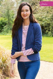 Joules Olivia Dark Chambray  Herringbone Soft Jersey Blazer