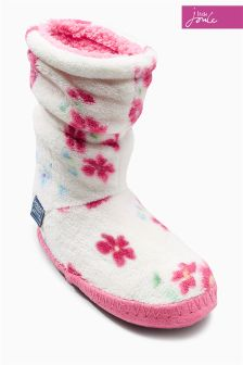 Joules Cream Floral Padabout Slipper