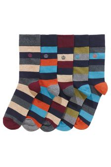 Block Stripe Socks Five Pack