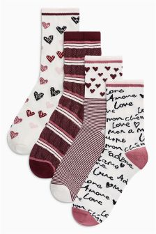 Valentine Ankle Socks Four Pack