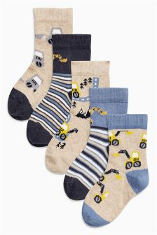 Digger Socks Five Pack (Younger Boys)