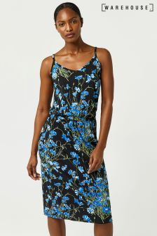 Warehouse Black Full Bloom Cami Midi Dress