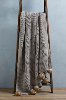 Grey Knitted Pom Pom Throw