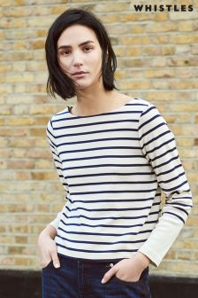 Whistles Cream/Navy Stripe Contrast Cuff Top