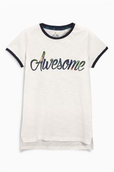 Ecru Awesome Print T-Shirt (3-16yrs)