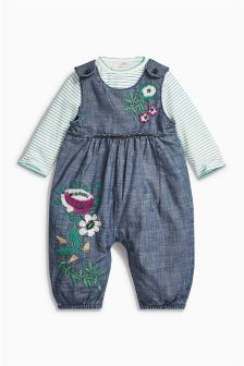 Embroidered Floral Dungarees And Bodysuit (0mths-2yrs)