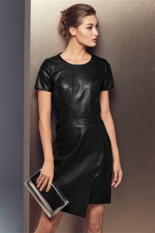 Wrap Leather Look Dress
