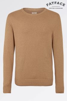 Fat Face Camel Cotton Cashmere Crew Jumper