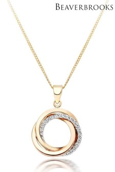 Beaverbrooks 9ct Three Colour Gold Cubic Zirconia Circles Pendant