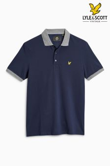 Lyle & Scott Navy Contrast Rib Polo